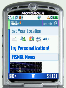 The MSN service on my mobile